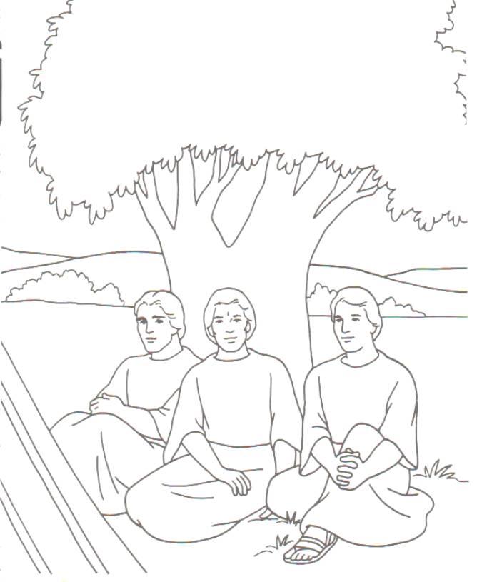 Colorear Abraham tres ángeles