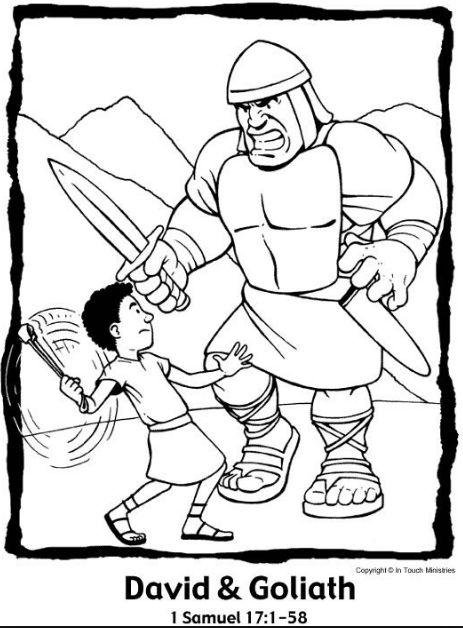 P\' Colorear: David y Goliat - Maestro de Escuela Dominical