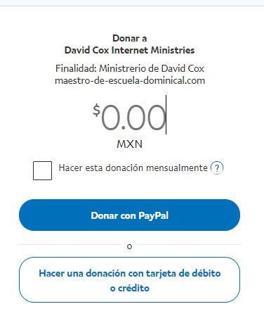 La página en Paypal será como esto. Haz clic en donar arriba.